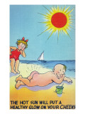 Comic Cartoon - Hot Sun Putting Healthy Glow on Cheeks; Boy Nude Sunbathing Prints by  Lantern Press