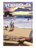 Ventura, California - Surfing Beach Scene Print