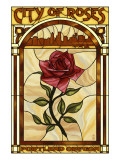 Rose and Skyline Stained Glass - Portland, Oregon Prints