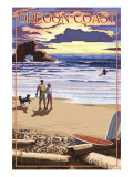 Oregon Coast Scene at Sunset Print by  Lantern Press