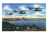 Jacksonville, Florida - US Navy Bombers over St. John's River Posters by  Lantern Press