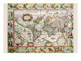 Karte von the Amerikas Giclée-Premiumdruck von Peter Van der Keere