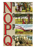N, O, P, Q Illustrated Letters Poster by Edmund Evans