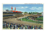 Louisville, Kentucky - Souvenir of the Kentucky Derby; Race Scene Posters by  Lantern Press
