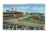Louisville, Kentucky - Souvenir of the Kentucky Derby; Race Scene Posters