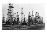California - View of Oil Fields near Los Angeles Art