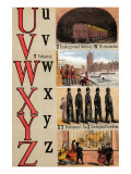 U, V, W, X, Y, Z Illustrated Letters Posters by Edmund Evans