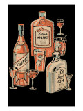 Whiskey, Wine &amp; Gin Print