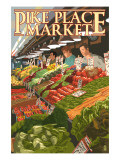 Pike Place Market Produce - Seattle, WA Láminas por  Lantern Press