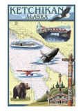 Ketchikan, Alaska - Nautical Chart Art by  Lantern Press