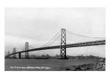 San Francisco, California - Panoramic View of Bay Bridge Poster by  Lantern Press