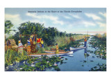Everglades Nat'l Park, Florida - Seminole Indians in Longboats Posters by  Lantern Press