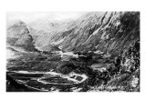 Alaska - Aerial View of a Railroad Track Loop Print