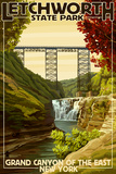 Letchworth State Park, New York - Grand Canyon of the East Prints by  Lantern Press