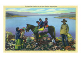 San Carlos Reservation, Arizona - Apache Family, Kids on Horseback Art by  Lantern Press