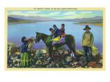 San Carlos Reservation, Arizona - Apache Family, Kids on Horseback Art