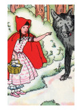 Little Red Riding Hood Tells the Wolf of Her Trip Prints by Julia Letheld Hahn