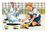 Feeding the Chickens Prints by Julia Letheld Hahn