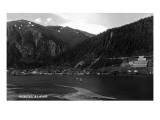 Juneau, Alaska - Panoramic View of Town from Water Art by  Lantern Press