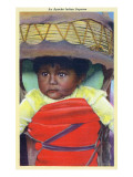Apache Indian Baby in Papoose Print