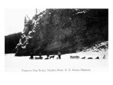 British Columbia, Canada - View of Trappers and Dog Teams on Muskwa River Art by  Lantern Press