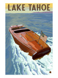 Lake Tahoe, California - Wooden Boat Print