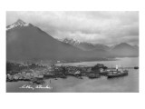 Sitka, Alaska - Aerial Panoramic View of Town Prints by  Lantern Press