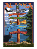 Juneau, Alaska - Destination Sign Prints by  Lantern Press