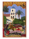 San Diego, California - Old Town Poster by  Lantern Press