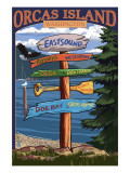 Orcas Island, WA - Destination Sign Print by  Lantern Press