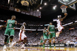 Boston Celtics v Miami Heat - Game Five, Miami, FL - MAY 11: Dwyane Wade and Glen Davis Photographic Print by Mike Ehrmann