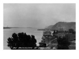 Hannibal, Missouri - View of Mississippi River and Docked Riverboat Posters
