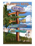 Key West, Florida - Destination Signs Poster