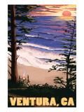 Ventura, California - Surfing Sunset Poster von  Lantern Press