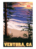 Ventura, California - Surfing Sunset Poster