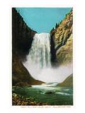 Yellowstone Nat'l Park, Wyoming - Great Fall from below Lámina giclée premium por  Lantern Press
