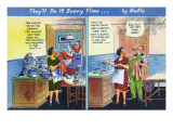 Comic Cartoon - Man Only Helps with Dishes When Dinner is Just for Two Print by  Lantern Press
