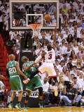 Boston Celtics v Miami Heat - Game Five, Miami, FL - MAY 11: Dwyane Wade and Jermaine O'Neal Photographic Print by Mike Ehrmann