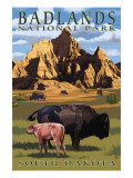 Badlands National Park, South Dakota - Bison Scene Affiches