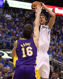 Los Angeles Lakers v Dallas Mavericks - Game Three, Dallas, TX - MAY 06: Dirk Nowitzki and Pau Gaso Photographic Print by Ronald Martinez