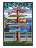 Seattle, Washington - Destination Signs Prints by  Lantern Press