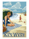 Key West, Florida - Beach Scene Art