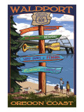 Waldport, Oregon - Sign Destinations Print by  Lantern Press