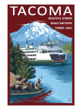 Ferry & Mount Rainier Scene - Tacoma, Washington Posters