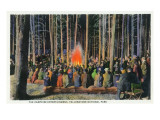 Yellowstone Nat'l Park, Wyoming - Campfire Entertainment Scene Posters by  Lantern Press