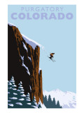 Purgatory, Colorado - Skier Jumping Art by  Lantern Press