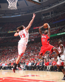 Atlanta Hawks v Chicago Bulls - Game Five, Chicago, IL - MAY 10: Jamal Crawford and Joakim Noah Photo by Scott Cunningham