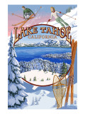 Lake Tahoe, CA Winter Views Poster von  Lantern Press