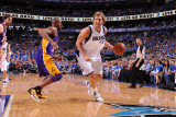 Los Angeles Lakers v Dallas Mavericks - Game Three, Dallas, TX - MAY 6: Dirk Nowitzki and Kobe Brya Photographic Print by Andrew Bernstein