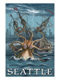 Kraken Attacking Ship - Seattle Print by  Lantern Press